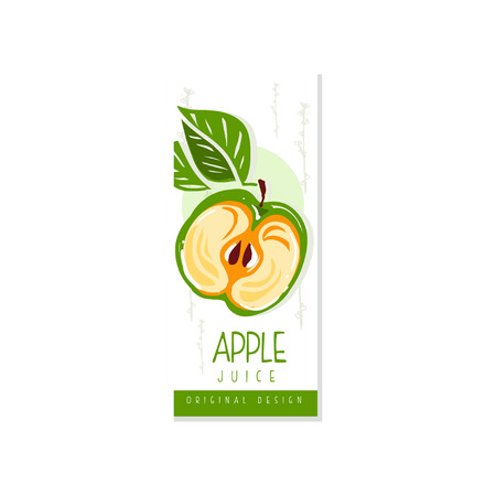Juice fruit label with half of green apple and leaves. Organic and healthy product. Vegan nutrition. Hand drawn design for juice or yogurt packaging. Colorful vector Standard-Bild - 119085015