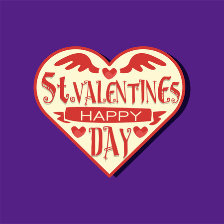 Red and white heart shape paper sticker for St. Valentine s day. 14 February couples love celebration. Romantic greeting card or tag for gift. Vector festive illustration isolated on purple background