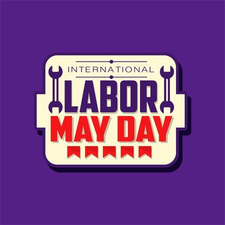 Happy International Labor day emblem. May holiday celebration sticker decorated with flags and inch wrenches. Flat vector spring festive illustration Standard-Bild - 119085023