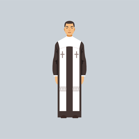 Catholic clergyman, representative of religious confession vector Illustration