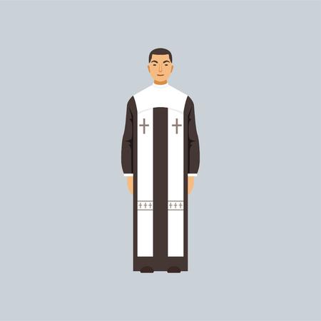 Sacerdote cattolico, rappresentante della confessione religiosa vector Illustration