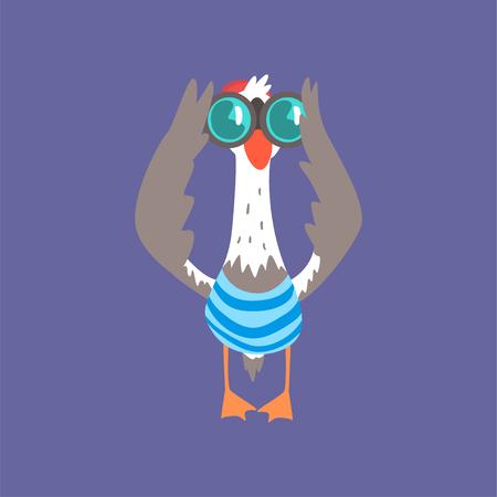 Gabbiano divertente che guarda tramite il binocolo, illustrazione di vettore del fumetto del carattere dell'uccello comico sveglio isolato su un fondo blu
