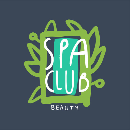 Spa beauty club, badge for wellness, yoga center, health and cosmetics label, hand drawn vector Illustration Vettoriali