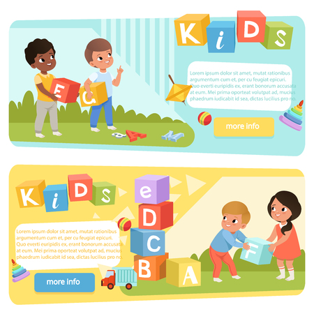 Two banners with preschool kids with colored ABC cubes. Speech therapy. Playful learning. Flat vector design for child development center or kindergarten web site Standard-Bild - 119085036