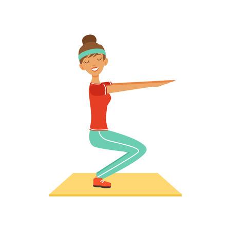 Carácter de mujer joven deportiva haciendo sentadillas, chica ejercitándose en el gimnasio o gimnasio colorido vector ilustración aislada sobre fondo blanco