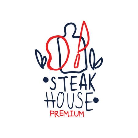 Premium steak house template, vintage label colorful hand drawn vector Illustration Illustration