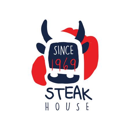 Steak house template since 1969, vintage label colorful hand drawn vector Illustration