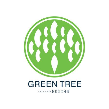 Green tree original design, green eco and bio circle badge, abstract organic element vector illustration  イラスト・ベクター素材
