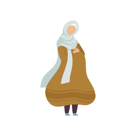 Pregnant Muslim Woman, Modern Arab Girl in Traditional Clothing Vector Illustration 일러스트
