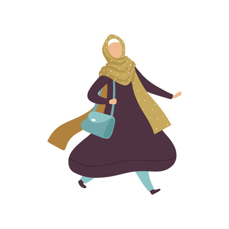Muslim Woman Walking with Bag, Modern Arab Girl in Traditional Clothing in Daily Routine Activity Vector Illustration