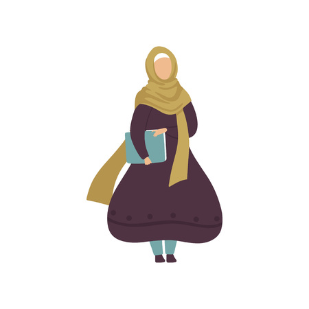 Muslim Woman Holding Folder with Papers, Modern Arab Girl in Traditional Clothing Vector Illustration Standard-Bild - 119085008