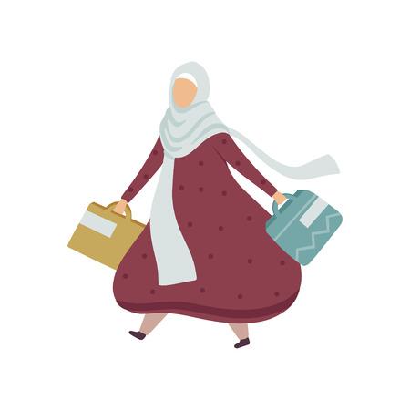Muslim Woman Walking with Shopping Bags, Modern Arab Girl in Traditional Clothing Vector Illustration Standard-Bild - 119084983