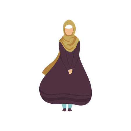 Beautiful Muslim Woman in Traditional Clothing Vector Illustration