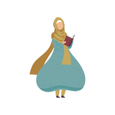 Muslim Woman Standing and Reading Book, Modern Arab Girl in Traditional Clothing Vector Illustration Standard-Bild - 119084985