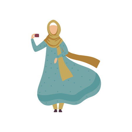 Muslim Woman Taking Selfie with Mobile Phone, Modern Arab Girl in Traditional Clothing Vector Illustration Standard-Bild - 119084986