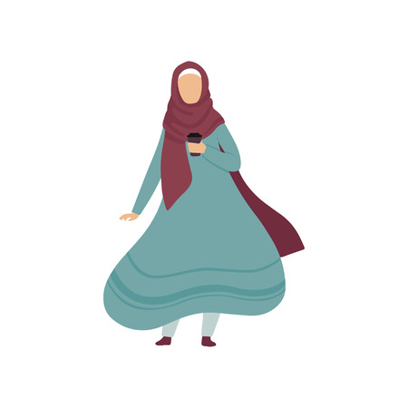 Muslim Woman Standing with Cup of Coffee, Modern Arab Girl in Traditional Clothing Vector Illustration Standard-Bild - 119084987