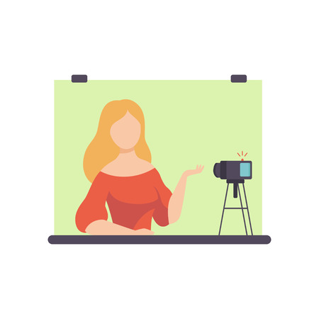 Young Woman Blogger Creating Content and Posting It on Social Media, Online Channel Concept, Female Video Streamer Vector Illustration on White Background.