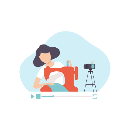 Girl Sewing Clothes By Sewing Machine, Young Woman Blogger Creating Content and Posting It on Social Media, Online Channel Concept, Female Video Streamer Vector Illustration on White Background. Ilustração