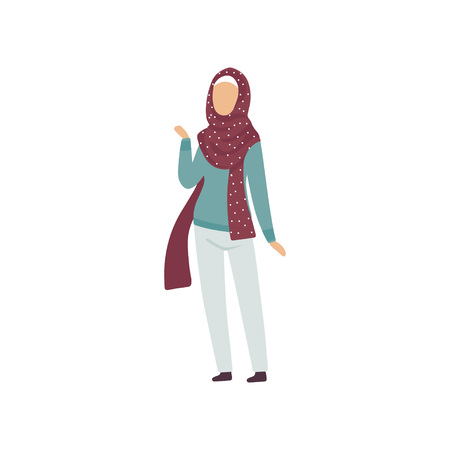 Muslim Woman in Modern Clothing and Traditional Hijab Vector Illustration Standard-Bild - 119084988