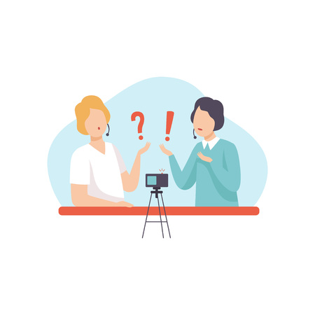 Male Bloggers Creating Content and Posting It on Social Media, Online Channel Concept Vector Illustration on White Background.