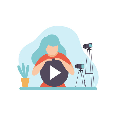Young Woman Blogger Creating Video Content, Online Channel Concept, Female Video Streamer Vector Illustration on White Background.