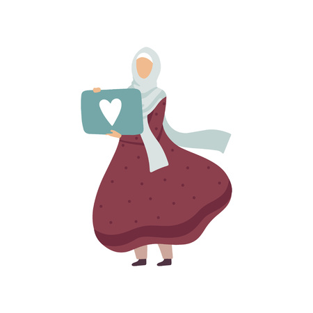Muslim Woman Holding Signboard with Heart, Modern Arab Girl in Traditional Clothing Vector Illustration