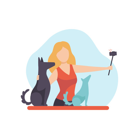 Girl Blogger Recording Video on Camera with Her Dog, Young Woman Creating Content and Posting It on Social Media, Online Channel Concept, Female Video Streamer Vector Illustration on White Background.