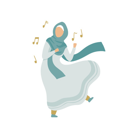 Muslim Woman Listen to Music and Dancing, Modern Arab Girl in Traditional Clothing Vector Illustration Illustration