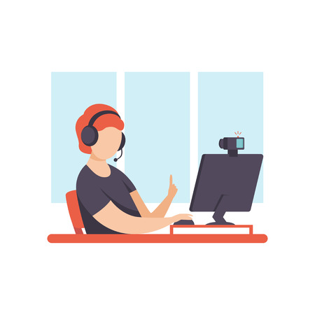 Young Man Blogger Creating Content and Posting It on Social Media, Online Channel Concept Vector Illustration on White Background. Stock Vector - 124296983