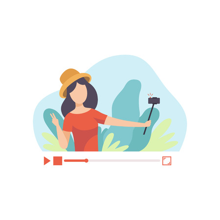 Young Woman Travel Blogger Creating Content and Posting It on Social Media, Girl Talking About Her Journey, Online Channel Concept, Female Video Streamer Vector Illustration on White Background. Ilustração