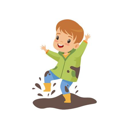 Leuke jongen springen in vuil, ondeugende jongen, slecht kind gedrag vectorillustratie op witte achtergrond.