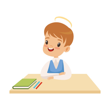 Little Boy With Halo on His Head Sitting at Desk, Cute Child with Good Manners Vector Illustration on White Background.