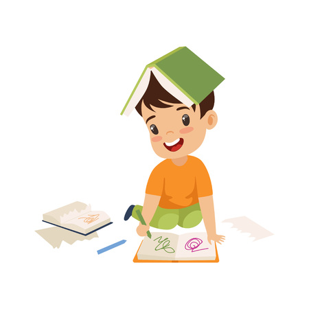 Lindo niño travieso rasgando páginas del libro y escribiendo en él, mal comportamiento infantil ilustración vectorial sobre fondo blanco.