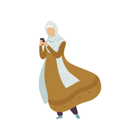 Muslim Woman standing with Smartphone, Modern Arab Girl in Traditional Clothing in Daily Routine Activity Vector Illustration Standard-Bild - 119084991
