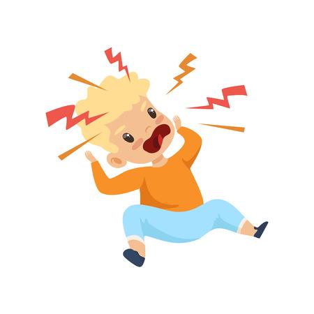 Muchacho furioso gritando, lindo niño travieso, mal comportamiento infantil ilustración vectorial sobre fondo blanco.