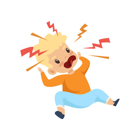 Raging Boy Shouting, Cute Naughty Kid, Bad Child Behavior Vector Illustration on White Background. Иллюстрация