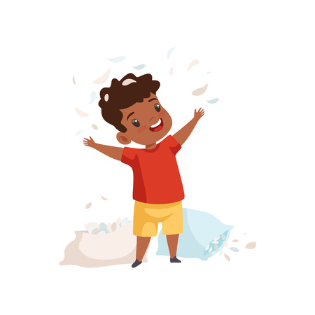 Little Boy Playing with Pillows, Feathers Flying Around Him, Cute Naughty Kid, Bad Child Behavior Vector Illustration on White Background. Stock Illustratie