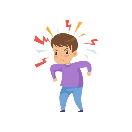 Niño travieso agresivo, mal comportamiento infantil ilustración vectorial sobre fondo blanco.