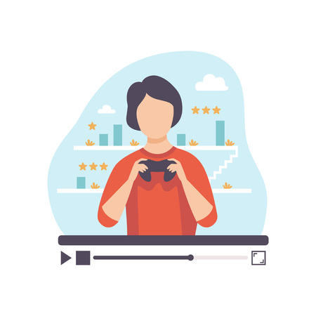 Male Professional Gamer Reviewing Computer Games, Young Man Blogger Creating Content about His Hobby and Posting It on Social Media, Online Channel Concept Vector Illustration on White Background. Illusztráció