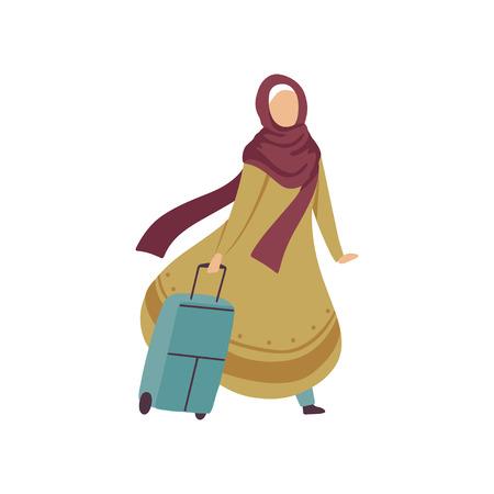 穆斯林妇女走在手提箱,现代阿拉伯女孩在传统服装旅行矢量插图