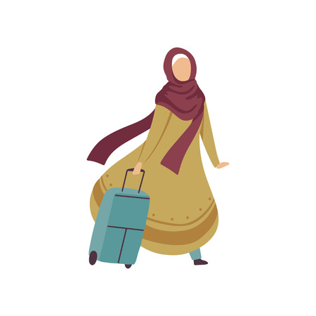 Muslim Woman Walking with Suitcase, Modern Arab Girl in Traditional Clothing Traveling Vector Illustration