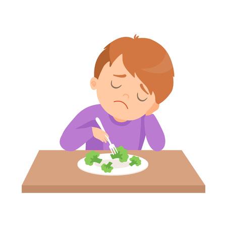 Il ragazzo carino non vuole mangiare i broccoli, il bambino non ama le verdure illustrazione vettoriale su sfondo bianco.