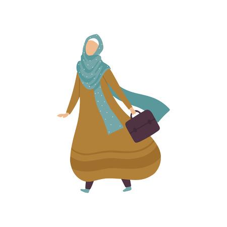 Modern Arab Woman in Traditional Clothing Walking with Bag Vector Illustration Standard-Bild - 119084995