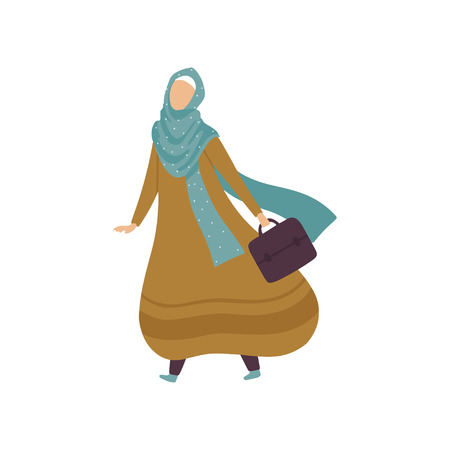 Modern Arab Woman in Traditional Clothing Walking with Bag Vector Illustration