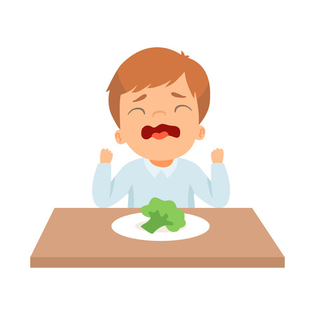 Crying Little Boy Refusing to Eat Broccoli, Kid Does Not Like Healthy Food Vector Illustration on White Background.
