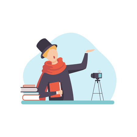 Male Poet Reading His Poems, Man Blogger Creating Content about His Hobby and Posting It on Social Media, Online Channel Concept Vector Illustration on White Background.