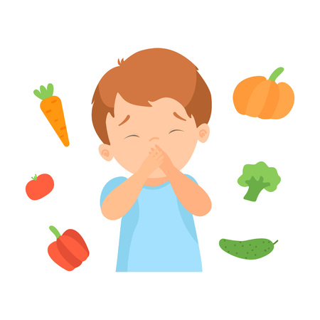 Cute Boy Refusing to Eat Vegetables, Kid Does Not Like Healthy Food Vector Illustration on White Background.