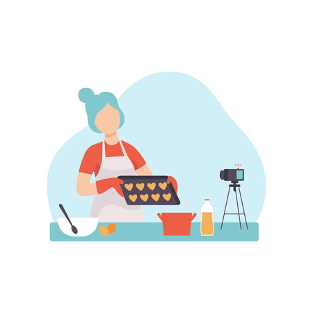 Girl Cooking at Kitchen and Recording Video on Camera, Young Woman Food Blogger Creating Content about Her Hobby and Posting It on Social Media, Online Channel Concept, Female Video Streamer Vector Illustration on White Background. Ilustração