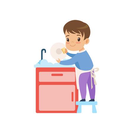 Chico lindo lavar los platos, niño ayudando con la limpieza del hogar ilustración vectorial sobre fondo blanco. Ilustración de vector