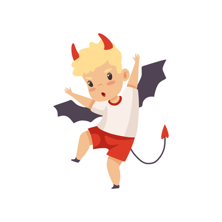 Cute Boy Devil, Naughty Kid, Bad Child Behavior Vector Illustration on White Background.